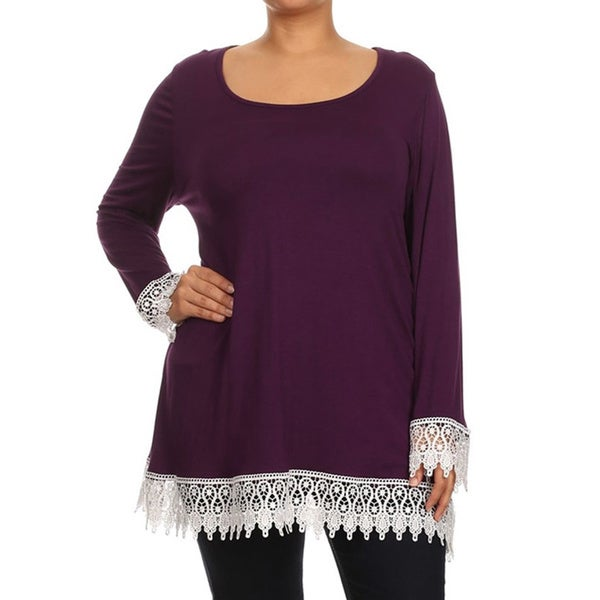Plus Size Women's Top with Crochet Lace Trim