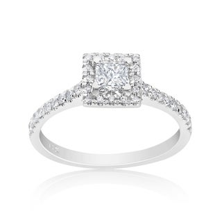 Andrew Charles 14k White Gold 3/4ct TDW Princess Halo Ring (H-I, SI2-I1)