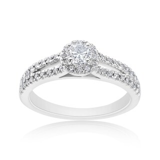 Andrew Charles 14k White Gold 5/8ct TDW Diamond Halo Ring (H-I, SI2-I1)