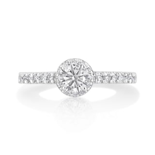 Andrew Charles 14k White Gold 3/4ct TDW Diamond Halo Ring (H-I, SI2-I1)