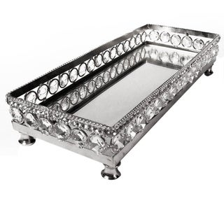 Heim Concept Sparkle Stainless Steel Vanity Mirror Tray with Beaded Crystals