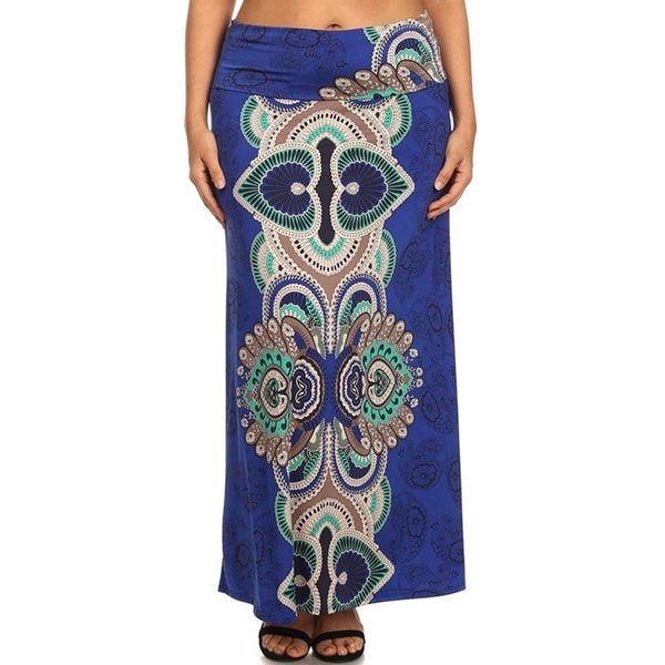 Plus Size Women's Royal Paisley Maxi Skirt