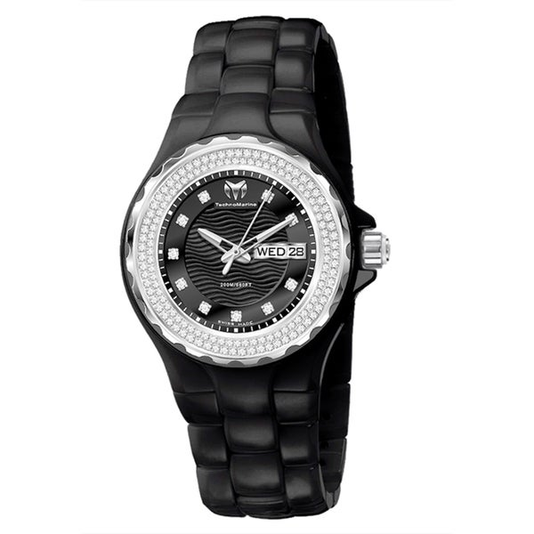 TechnoMarine Ladies Black Ceramic Dial Cruise Watch