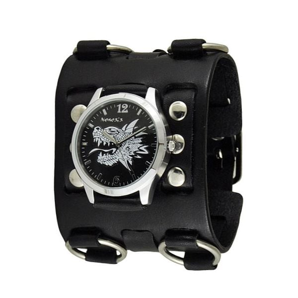 Nemesis Black/White Dragon Head Watch with Black Wide Detail Leather Cuff Band BWB903R