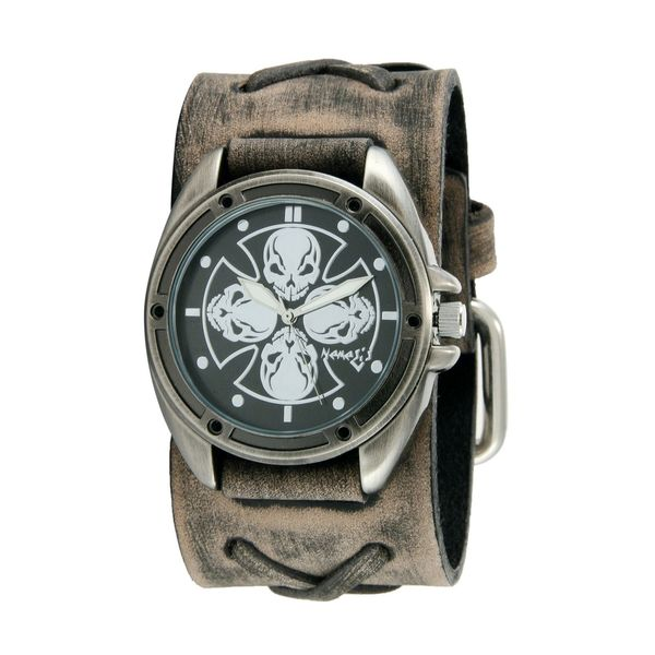 Nemesis Black/Silver Skull Compass Watch with Faded Grey X Leather Cuff Band FXB909K