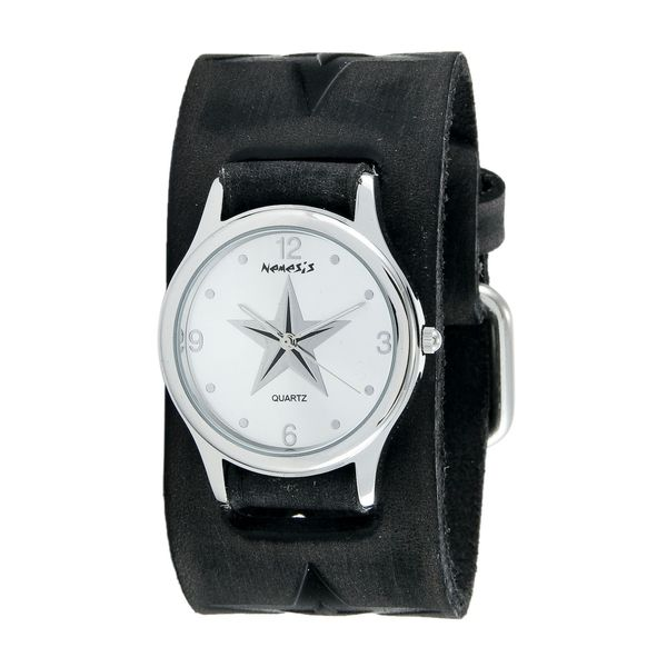 Nemesis Silver Vintage Punk Rock Star Watch with Faded Black Embossed Punk Rock Star Leather Cuff Band FST355S