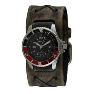 Nemesis Black/Red Classy Classic Diver Watch with Faded Dark Brown X Leather Cuff Band DFXB037RK