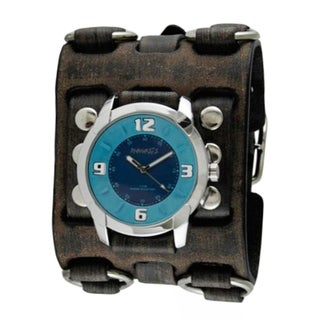 Nemesis Blue Embossed Watch with Faded Black Wide Detail Leather Cuff Band FWB106L