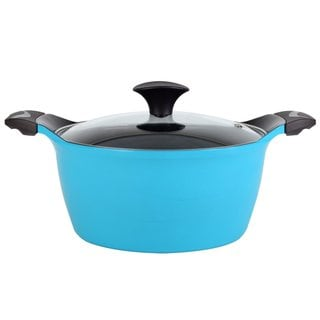 Cook N Home 4.2-quart Blue Nonstick Ceramic Coating Die Cast High Casserole Pan with Lid