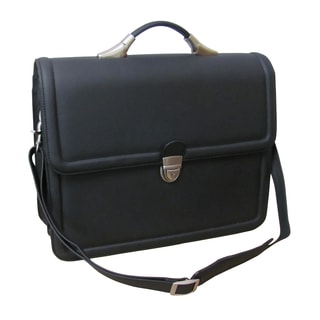 Amerileather Savvy Matte Black Leather Executive Briefcase