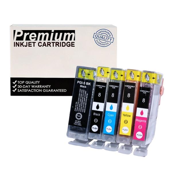 Compatible Canon PGI-5 CLI-8 KKCYM InkJet Cartridges (5-pack)