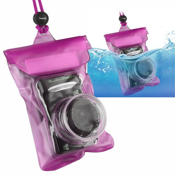INSTEN Hot Pink Waterproof Camera Phone Travel Sports Case Cover with Rope