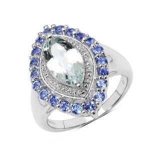 Malaika Sterling Silver Aquamarine and Tanzanite Ring
