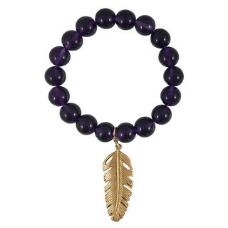 Terra Charmed Amethyst Bead Bracelet with Feather Charm