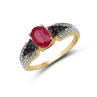 Malaika 14k Yellow Goldplated Silver Ruby and Black Spinel Ring