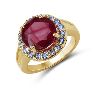 Malaika 14K Yellow Gold Plated 4.74 Carat Genuine Glass Filled Ruby and Tanzanite .925 Sterling Silver Ring