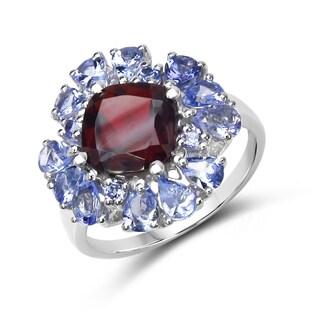 Malaika Sterling Silver Garnet and Tanzanite Ring
