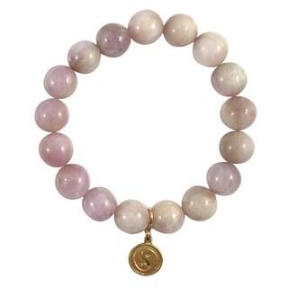 Terra Charmed Kunzite Bead Bracelet with Yin Yang Charm