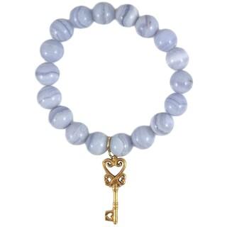 Terra Charmed Blue Lace Agate Beaded Bracelet with Ornate Key Charm
