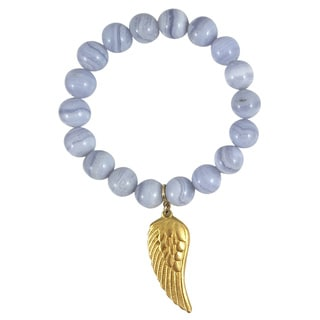 Terra Charmed Blue Lace Agate Beaded Bracelet with Gold Angel Wing Charm