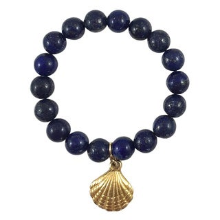 Terra Charmed Lapis Lazuli Beaded Bracelet with Seashell Charm