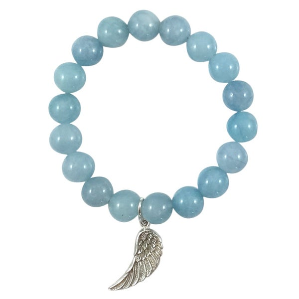 Terra Charmed Aquamarine Bead Bracelet with Silver Angel Wing Charm