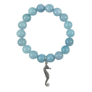 Terra Charmed Aquamarine Bead Bracelet with Seahorse Charm