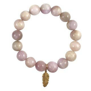 Terra Charmed Kunzite Bead Bracelet with Gold Feather Charm