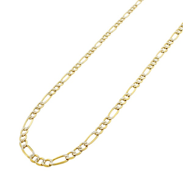 10k Yellow Gold Hollow Figaro Diamond-cut Pave Chain Necklace