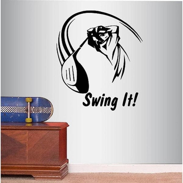 Swing it! Phrase Golf Player Golf Swing Sports Golfer Vinyl Decal Wall Sticker