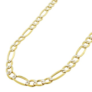 14k Two-tone Gold Hollow Figaro Diamond-cut Pave Necklace