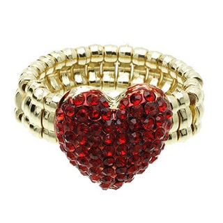 Valentine's Day Red Heart Shaped Crystal Ring with Gold Stretch Band
