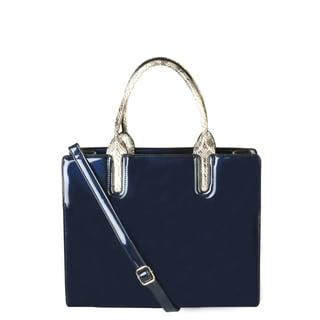 Rimen & Co. Faux Patent Leather Snakeskin Handle Handbag
