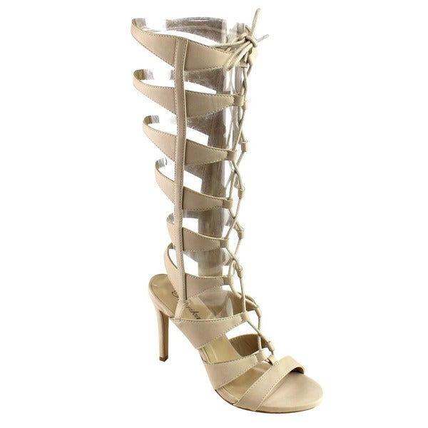 Beston Women's Caged Gladiator Heels