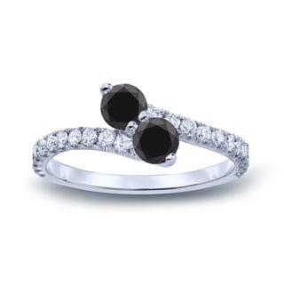 Auriya 14k Gold 1/2ct TDW Round-cut Black Diamond 3-prong, 2-stone Engagement Ring (Black, I1-I2)