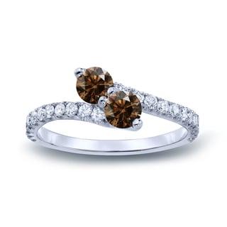 Auriya 14k Gold 3/4ct TDW Round-Cut Brown Diamond 3Prong 2-Stone Ring (Brown, I1-I2)