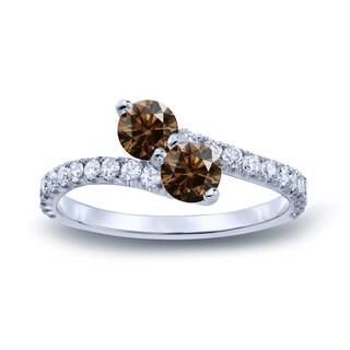 Auriya 14k Gold 1ct TDW Round-Cut Brown Diamond 3Prong 2-Stone Ring (Brown, I1-I2)