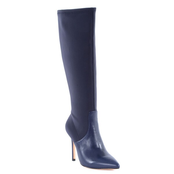 Halston Heritage Melissa Blue Leather/ Lycra Stretch Knee Boot