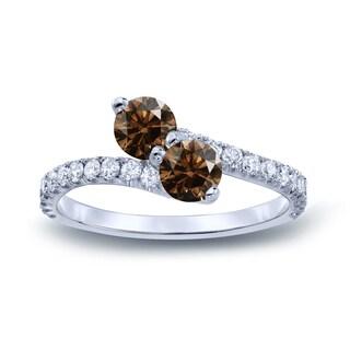 Auriya 14k Gold 1 1/2ct TDW Round-Cut Brown Diamond 3Prong 2-Stone Ring (Brown, I1-I2)