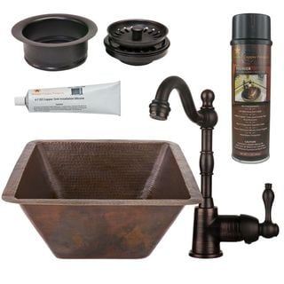 Premier Copper Products BSP4_BS17DB-G Bar/ Prep Sink, Faucet and Accessories Package