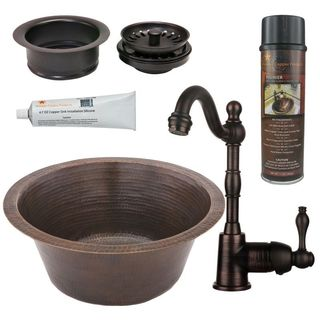 Premier Copper Products BSP4_BR16DB3-G Bar/ Prep Sink, Faucet and Accessories Package