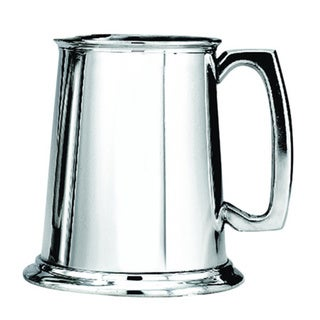 Pewter Polished Finish Glass Bottom Tankard
