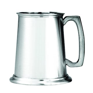 Pewter Satin Finish Glass Bottom Tankard