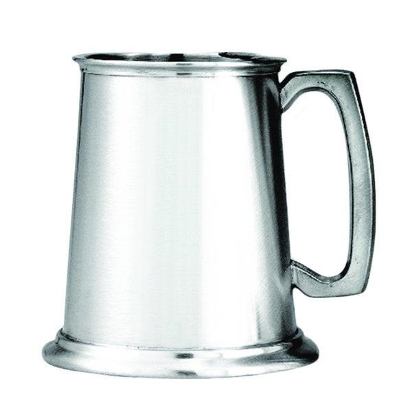 Pewter Satin Finish Glass Bottom Tankard