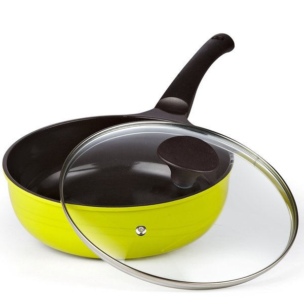 Cook N Home 3-quart 9.5-inch Yellow Nonstick Ceramic Coating Die Cast Deep Saute Stir Fry Wok Pan with Lid