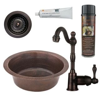 Premier Copper Products BSP4_BR14DB3-D Bar/ Prep Sink, Faucet and Accessories Package