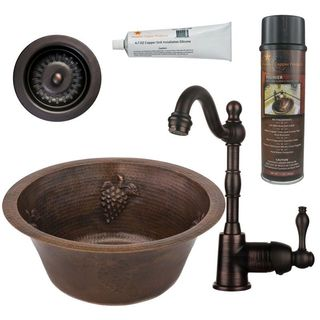 Premier Copper Products BSP4_BR16GDB3-D Bar/ Prep Sink, Faucet and Accessories Package
