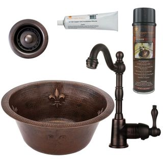 Premier Copper Products BSP4_BR16FDB2-B Bar/ Prep Sink, Faucet and Accessories Package