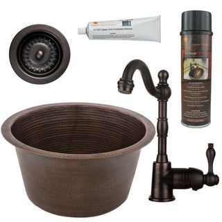 Premier Copper Products BSP4_BR17DB-D Bar/ Prep Sink, Faucet and Accessories Package