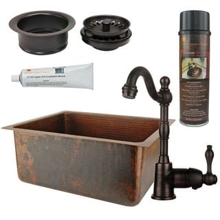 Premier Copper Products BSP4_BREC20DB-G Bar/ Prep Sink, Faucet and Accessories Package